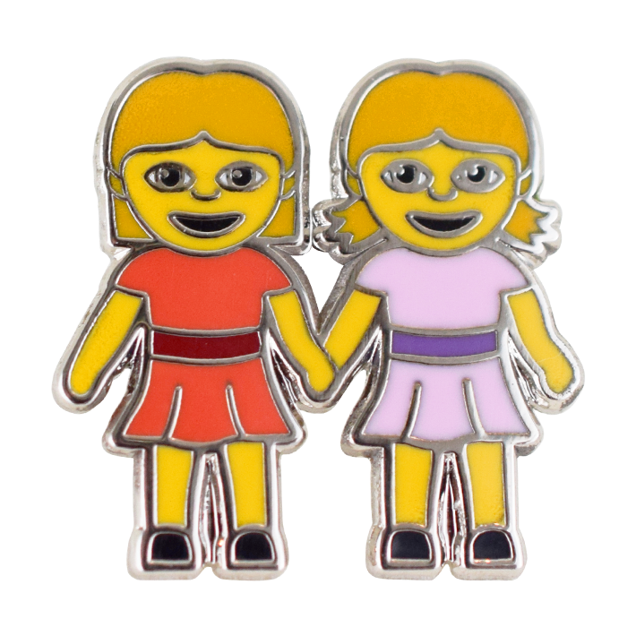 Girls Holding Hands Emoji Pin - Emoji Pins | Emoji Keychains | Emoji Earrings | Emoji Gifts