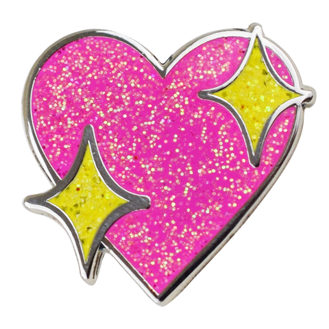 Sparkle Heart Emoji Pin - Emoji Pins | Emoji Keychains | Emoji Earrings | Emoji Gifts