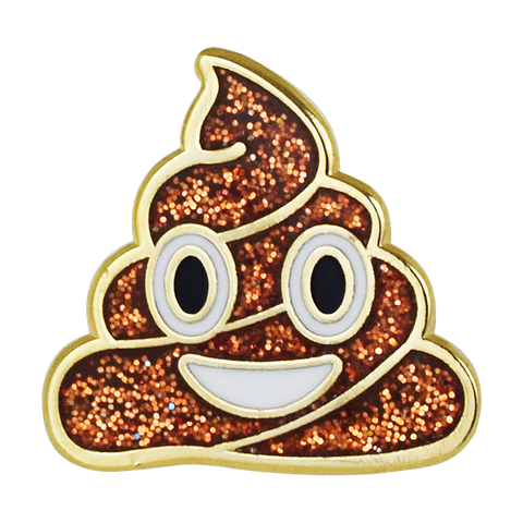Sparkle Poop Emoji Pin - Emoji Pins | Emoji Keychains | Emoji Earrings | Emoji Gifts