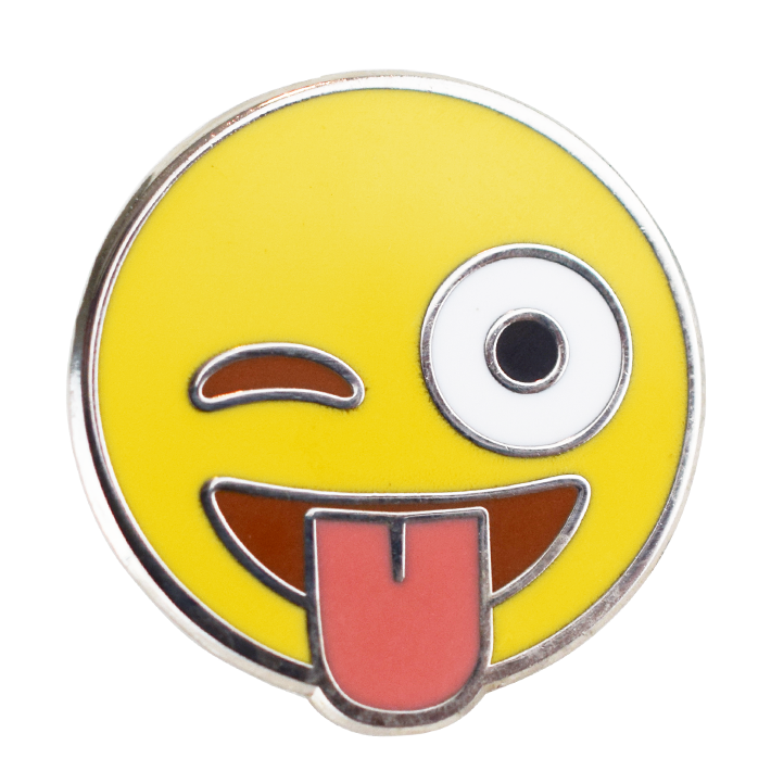 Wink (with tongue) Emoji Pin - Emoji Pins | Emoji Keychains | Emoji Earrings | Emoji Gifts