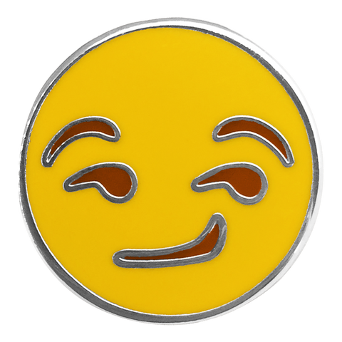 Smirk Emoji Pin - Emoji Pins | Emoji Keychains | Emoji Earrings | Emoji Gifts