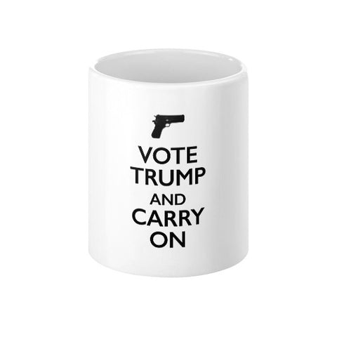 """Vote Trump and Carry On"" Coffee Mug - 2nd Amendment Gun Rights - Donald Trump 2016 - The Trump Outlet - 1"