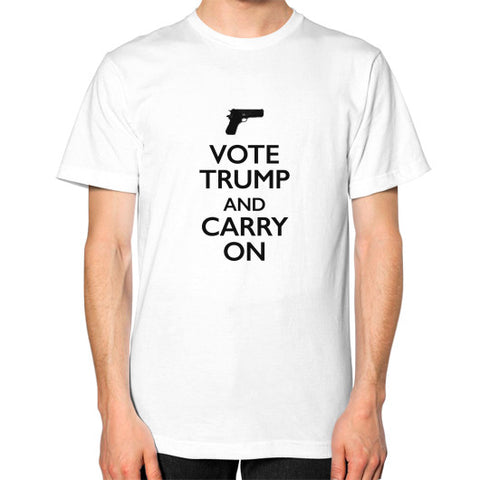 """Vote Trump and Carry On"" Men's T-Shirt - 2nd Amendment Gun Rights - Donald Trump 2016 - The Trump Outlet - 1"