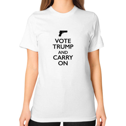 """Vote Trump and Carry On"" Women's T-Shirt - 2nd Amendment Gun Rights - Donald Trump 2016 - The Trump Outlet - 1"