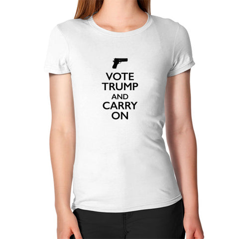 """Vote Trump and Carry On"" Women's Fitted T-Shirt - The Trump Outlet - 1"