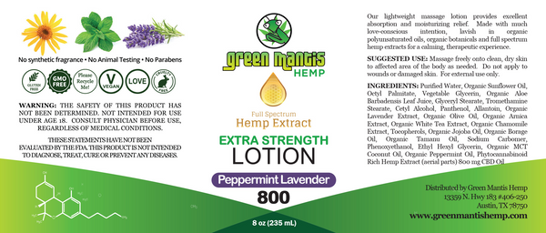 800mg Topical Extra Strength Hemp Infused Body Lotion label