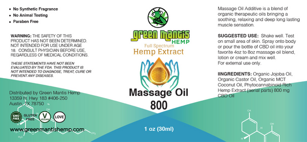 800mg Massage OIl - Topical CBD Oil label