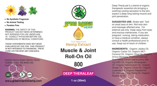 800MG Deep Theraleaf – Topical Muscle & Joint CBD Oil Roll-on label