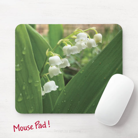 Mouse pad with lily of the valley in green and white