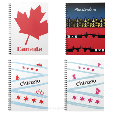 Notebooks with designs from around the world.