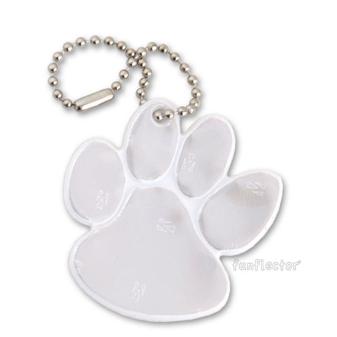 White paw print pedestrian safety reflector with nickel plated steel chain.
