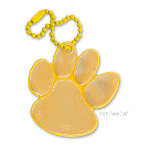 Gold paw print pedestrian safety reflector with yellow enamel ball chain.
