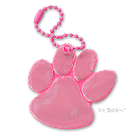 Pink paw print pedestrian safety reflector with pink enamel steel ball chain.