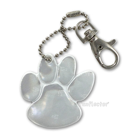 White paw print safety reflector with ball chain and lobster swivel clasp