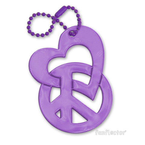 Purple safety reflector with intertwined heart and peace sign