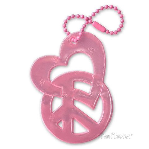Pink safety reflector with intertwined heart and peace sign