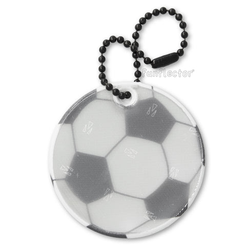 Soccer ball safety reflector with black ball chain. Made in USA with 3M Schotchlite soft reflective material.
