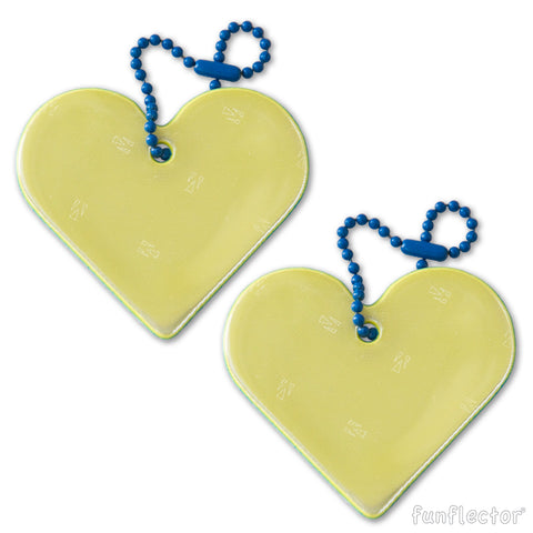yellow and blue heart safety reflector in 2-pack