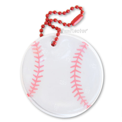 Baseball pedestrian safety reflector on a steel ball chain for backpacks and jackets.