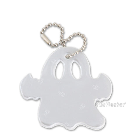 White ghost ultra bright Halloween safety reflector by funflector®.