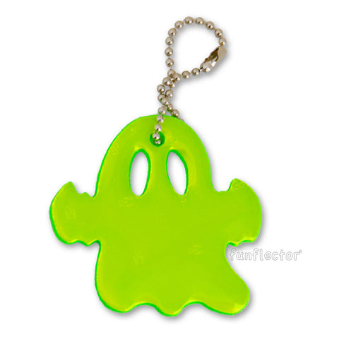 Neon green ghost ultra bright Halloween safety reflector by funflector®.