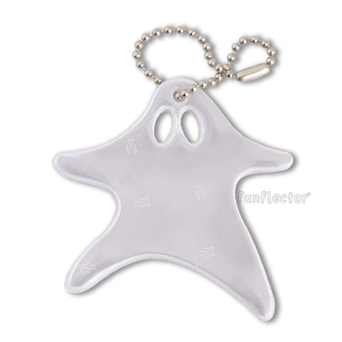 White running ghost Halloween safety reflector with nickel plated ball chain attachment.