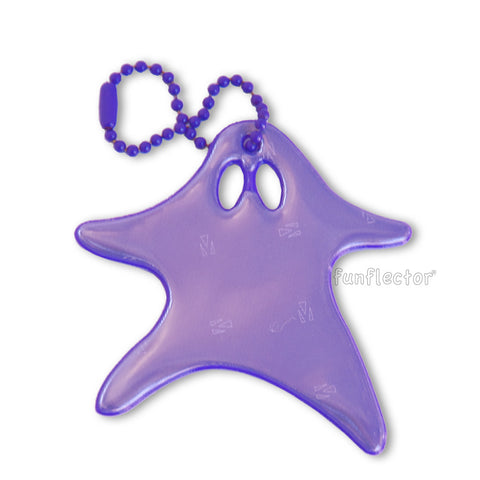 Purple running ghost Halloween safety reflector with purple ball chain attachment.