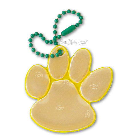 Gold and green spirit wear paw print walk to school safety reflector.