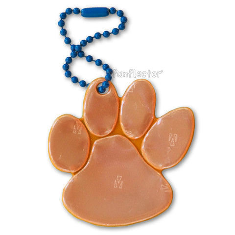 Orange and navy spirit wear paw print walk to school safety reflector.