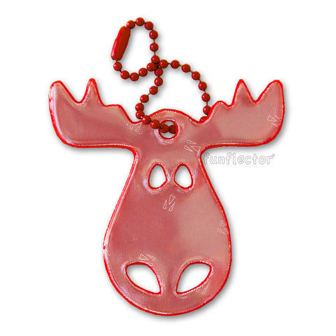 Red moose pedestrian safety reflector by funflector for jackets, bags, strollers and wheelchairs.