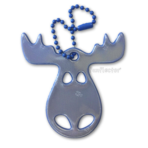 Blue moose safety reflector for backpacks and jackets