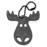 Black moose pedestrian safety reflector by funflector for jackets, bags, strollers and wheelchairs.