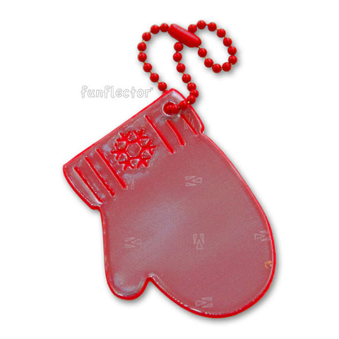 Red winter mitten pedestrian safety reflector with red steel ball chain by funflector®.