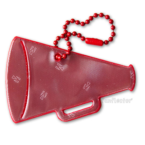Red cheerleading megaphone safety reflector for backpacks jackets and sports bags.
