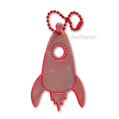 Red rocket ship safety reflector for backpacks and jackets.