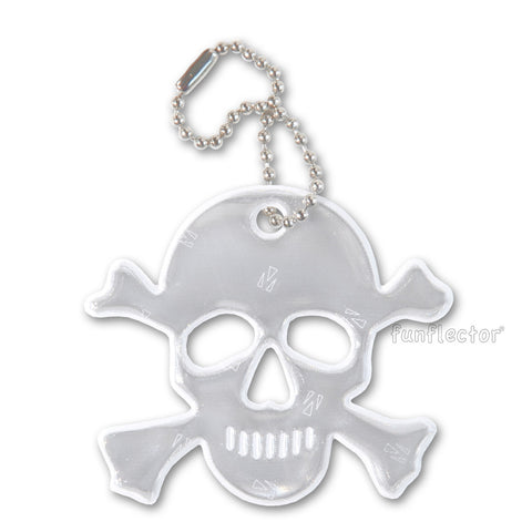 White Jolly Roger / Skull and Crossbones Halloween safety reflector by funflector®.