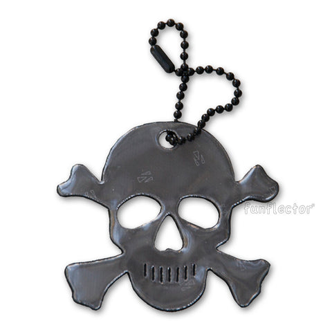 Black Jolly Roger / Skull and Crossbones Halloween safety reflector by funflector®.