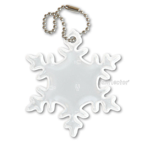 A snowflake pedestrian safety reflectors for your safety during the long dark winter months.