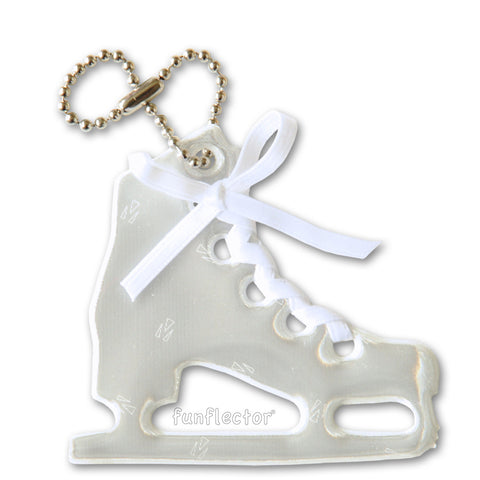 White figure skate pedestrian safety reflector with white satin lace and a steel ball chain.