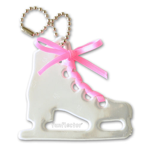 White figure skate pedestrian safety reflector with hot pink satin lace and a steel ball chain.