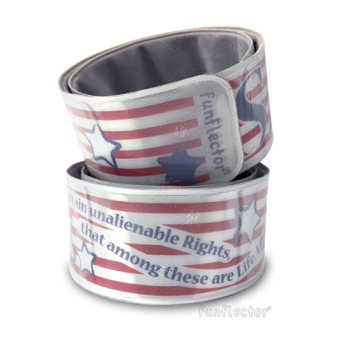 funflector reflective slap bracelet - stars and stripes - declaration of independence