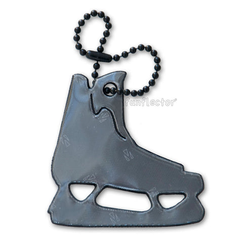 Black hockey skate pedestrian safety reflector with black enamel steel ball chain.