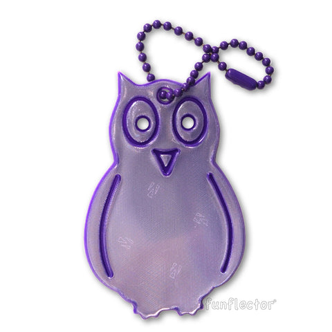 Purple owl safety reflector for backpacks and bags when walking and bicycling.