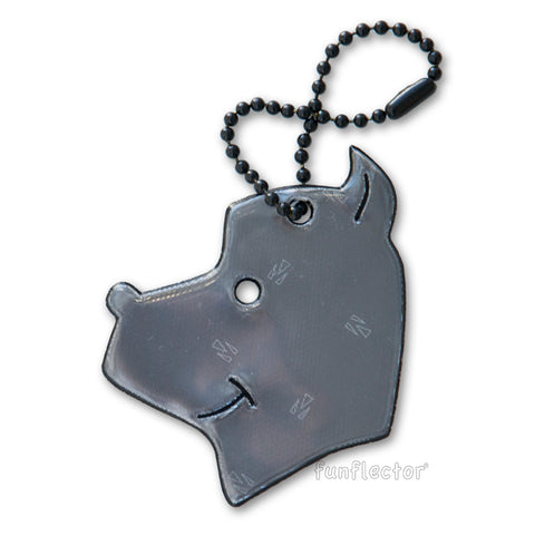 Black friendly dog safety reflector to hang on jacket zipper pulls, bags and backpacks.