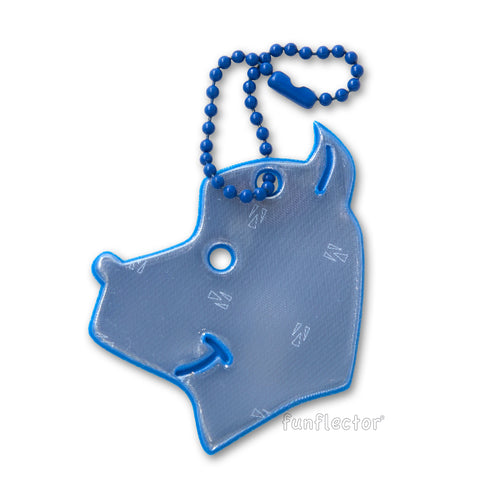 Blue dog safety reflector for walking, running and bicycling.