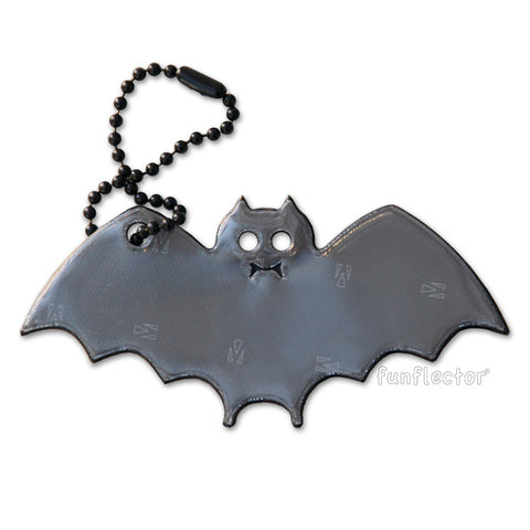 Black bat shaped halloween reflector for trick-or-treating safety, made in the USA with 3M Scotchlite.
