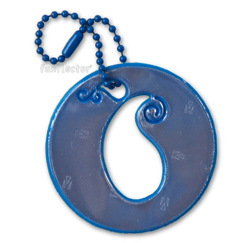 Circle with subtle paisley pattern in French blue. Matching blue ball chain.
