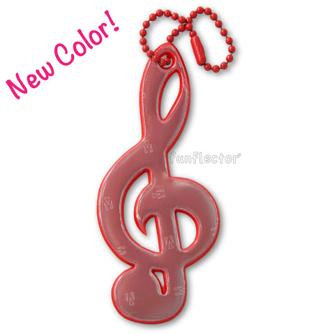 New color: Red treble clef safety reflector for jackets, bags and instrument cases.