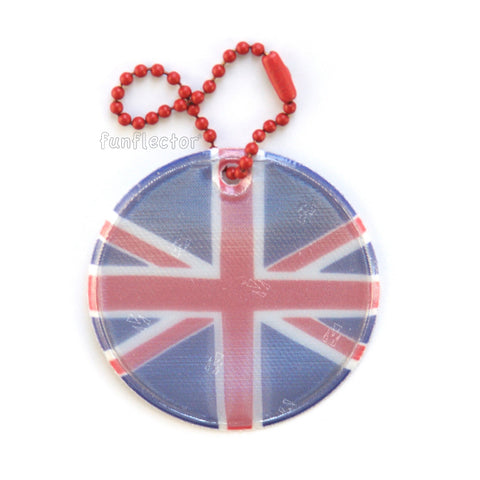Union Jack flag design on a round safety reflector by funflector®.