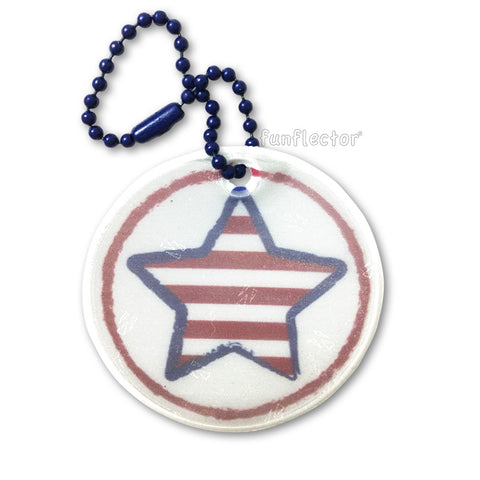 Round safety reflector with Americana stars and stripes print